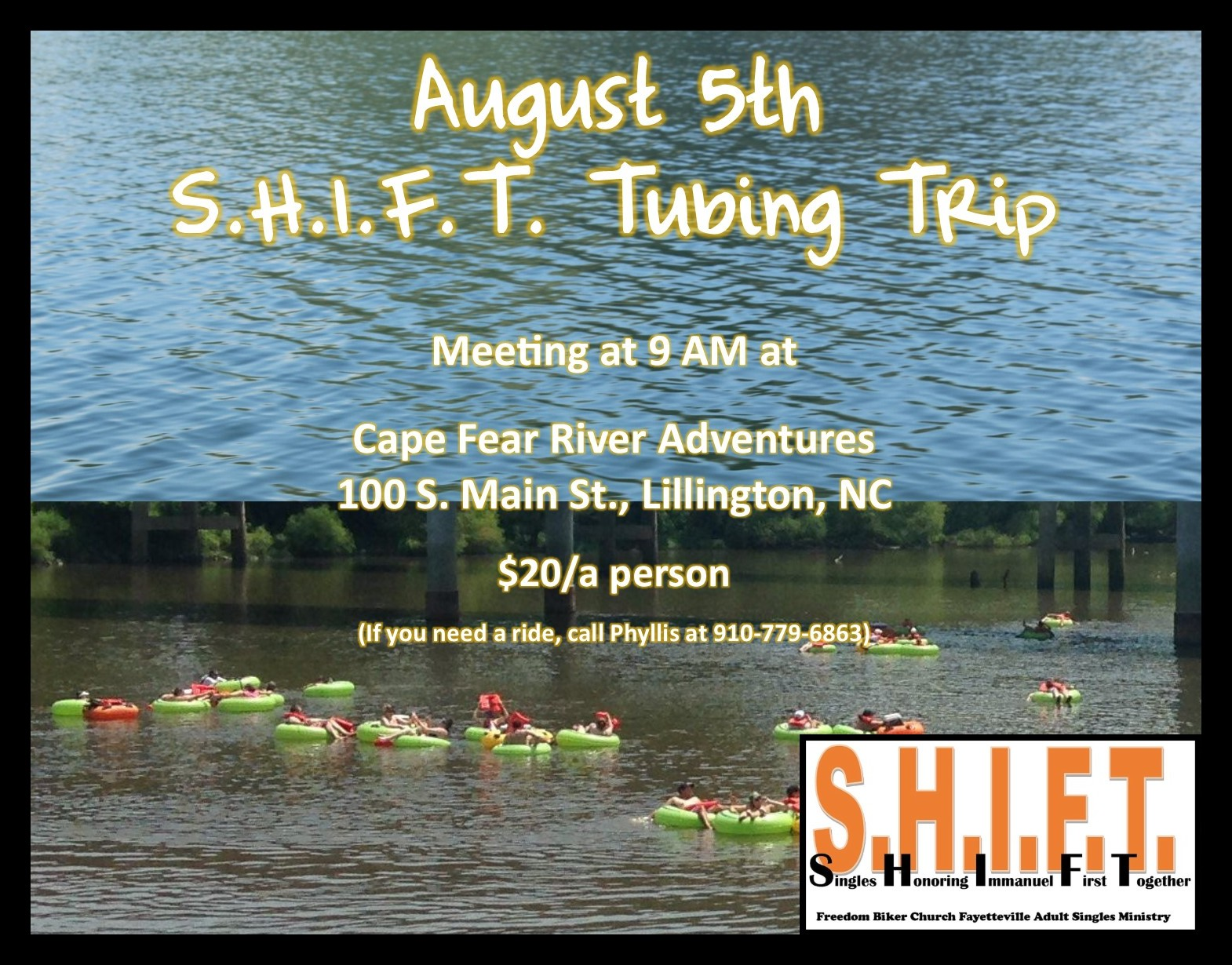 S.H.I.F.T. Single Adults Cape Fear River Adventure! @ Cape Fear River Adventures | Lillington | North Carolina | United States