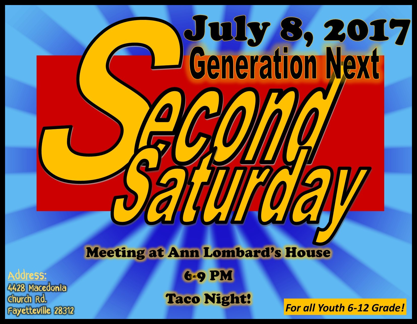 "GEN-X YOUTH ""SECOND SATURDAY"" @ ANN LOMBARD'S HOME 